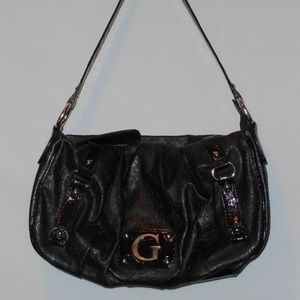 Guess Black Empossed Purse Bag Buckle Accents